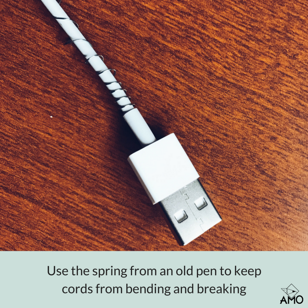 office hack. Image Of Use The Spring From An Old Pen To Keep Your Cords Bending And Office Hack